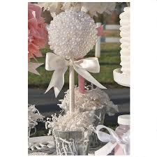centerpieces for baptism pearl topiary centerpiece baptism center quinceanera