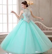 aqua quince dresses new vintage cheap quinceanera dresses high neck beading corset