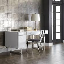 High Gloss White Desk by Sunpan 100588 Camden Desk In High Gloss White On Polished