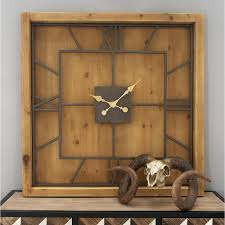 40 in x 40 in brown rustic wooden square wall clock 44380 the