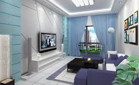 Living Room With Purple Sofa Blue Curtain Combined With Soft Grey Walls And Purple Sofa For