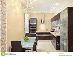 modern kitchen interior in warm tones royalty free stock photo