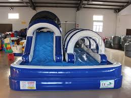 ocean blue inflatable backyard water slide qiqi toys inflatables