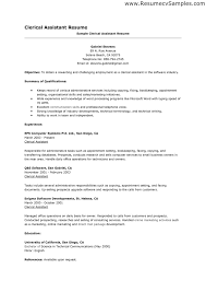clerical resume exles resume for clerical pertamini co
