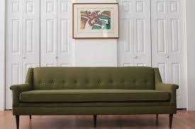olive green tweed sofa