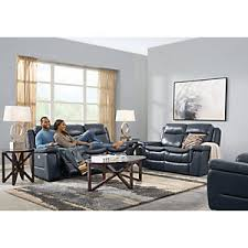 Living Room Table Ls Blue 5 Pc Leather Living Room Reclining Living Rooms Blue