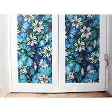 Decorative Window Film Stained Glass Bloss Vinyl Static Cling Blue Orchid Privacy Stained Glass
