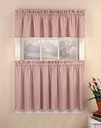 Kitchen Valances And Tiers by Ticking Stripe 3 Piece Kitchen Curtain Tier Set Curtainworks Com