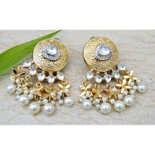dangler earrings stud kundan pearl dangler earrings
