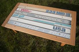 coffee table made from old skis ski woodcraft pinterest