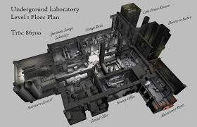 underground lab level 1 floor plan overview image shadowofamn