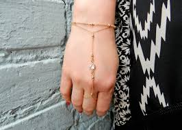 ring bracelet chain silver images Gold hand chain slave bracelet gold crystal chain bracelet jpg