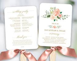 wedding program paddle fan template wedding program fan etsy