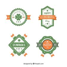 green and orange st patrick u0027s day badges vector free download