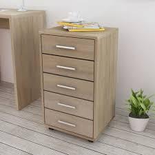 caisson de bureau sur roulettes p78 caisson a tiroir de bureau avec roulettes 5 tiroirs chene