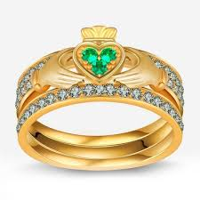 claddagh wedding ring sets green emerald three claddagh ring set evermarker