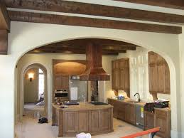 Island Hoods Kitchen Brown Wooden Kitchen Island Vent Mixed Exposed Beam Ceiling