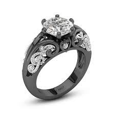 black wedding ring note promise ring in 925 sterling silver with rhodium plated for women