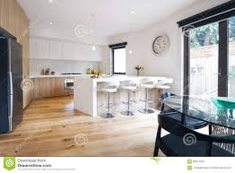 modern open plan kitchen with island bench stock photo image