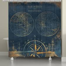 Map Of The World Shower Curtain by Golden Compass Blue World Map Shower Curtain U2013 Laural Home