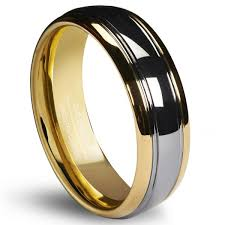 Mens Gunmetal Wedding Rings by Queenwish 6mm Tungsten Carbide Wedding Band Gold Silver Dome