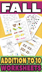 fall addition worksheets to 10 itsy bitsy fun
