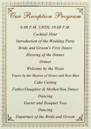 program for wedding reception wedding reception program obniiis
