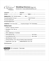 wedding reception itinerary 7 wedding itinerary template free sle exle format