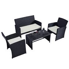 Costway  Pc Rattan Patio Furniture Set Garden Lawn Sofa Wicker - Black outdoor furniture