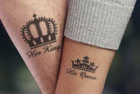 black king and queen crown tattoo design for couple