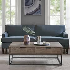 slate wood coffee table madison park becca brown slate wood metal 2 drawer storage coffee