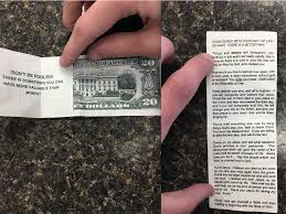 How Much Does A Waitress Make A Year by This Fake 20 Tip Is Actually A Bible Pamphlet Business Insider