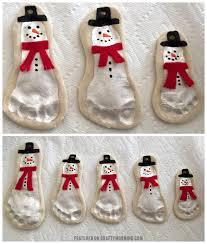salt dough footprint snowman keepsakes crafty morning