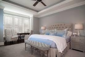 dark wood ceiling fan blue gray bedroom bedroom transitional with dark wood ceiling fan