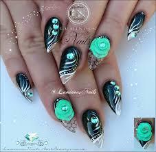 aqua black and white nail designs black aqua clear u0026 white