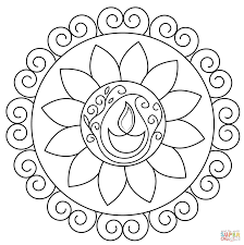 coloring pages diwali rangoli coloring page free printable