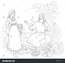 jesus samaritan woman well coloring page stock vector 675235927