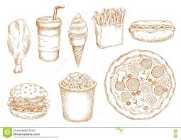 retro stylized sketch of fast food lunch stock vector image