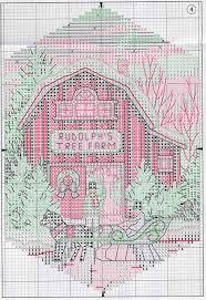 схема вышивки крестом christmas village ornaments вышивки