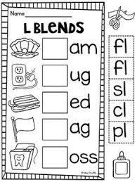 l blends first grade phonics worksheets and initials