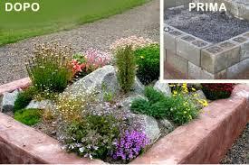 idee fai da te per il giardino idee giardino fai da te aiuola con sassi o blocchi cemento fai da
