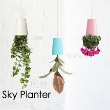 White Hanging Planter by Decorative Plastic Upside Down Flower Pot Small Hanging Plant Pot
