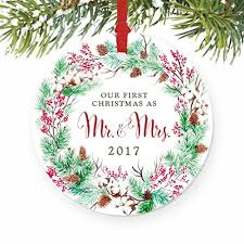 our as mr mrs ornament 2017 wreath