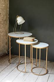 set of three end tables round nest of 3 marble side tables