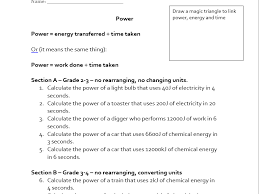 aqa 1 9 power energy transferred work done calculations by
