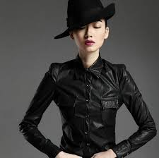 leather blouse s fashion faux leather pu shirts blouse sleeved