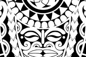 polynesian tattoo with tiki mask and turtle patterns