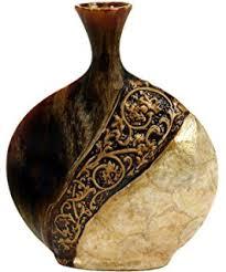 Capiz Vase Amazon Com Deco 79 Polystone Vase 20 By 17 Inch Home U0026 Kitchen