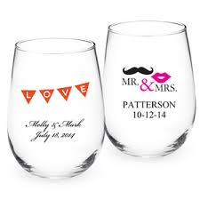 wedding favor glasses two color personalized stemless wine glass exclusive