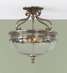 Ceiling Semi Flush Mount Light Fixtures by Two Light Brushed Bronze Clear Optic Glass Bowl Semi Flush Mount